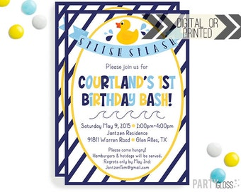 Rubber Duck Invitation - Digital or Printed - | Navy Yellow Rubber Duck Party Invitation | Duck Invite | Duck Invitation | Rubber Ducky