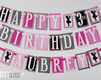 Girl Doll Birthday Party Banner Decorations Fully Assembled Black Pink