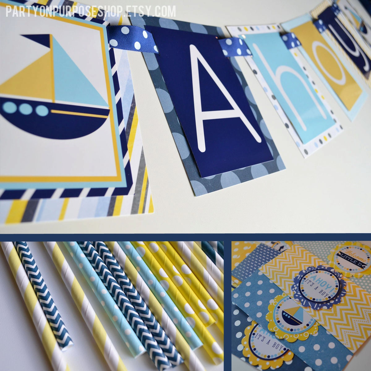Ahoy it 39 s a boy shower nautical baby shower decorations for Baby shower nautical decoration