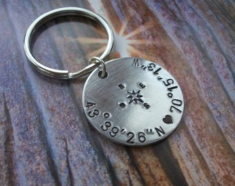 Latitude & Longitude Aluminum Handstamped Keychain - Personalized - Compass Rose - Wedding Gift - College Student