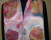 Pink/Orange Roses- Hand painted on silk