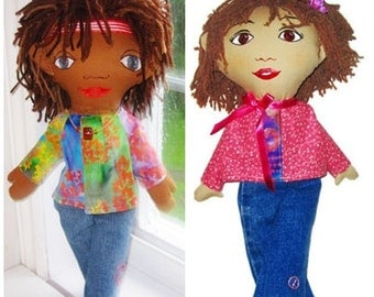 "Boy or Girl Hippie Rag Doll - Custom Made ""Little Ziggy"""