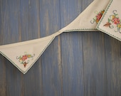 SALE...Vintage Linen Bunting.  Wedding Bunting. This piece has been made from some lovely white cotton with embroidered details. 3m long.