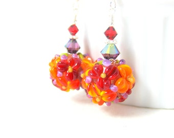 Colorful Floral Drop Earrings, Red Orange Purple Earrings, Dangle Earrings, Nature Jewelry, Lampwork Glass Earrings, Flower Earrings Melanie