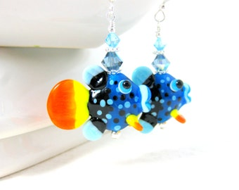 Colorful Fish Earrings, Blue Orange Yellow Earrings, Fish Jewelry, Lampwork Earrings, Animal Earrings, Whimsical Animal Jewelry - Clown Fish