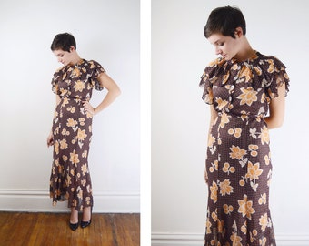 1930s Floral Dress / Brown and Yellow 30s Dress / Swiss Dot Dress - XS/S