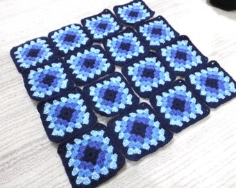 16 Pcs Crochet Granny Squares...Each Square Has 5 Rows With Dark Blue