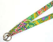 Kaffe Fassett Designer Fabric Lanyard Breakaway Lanyard ID Badge Holder Clip Key Ring Fob Jungle Paisley Emerald Green MTO