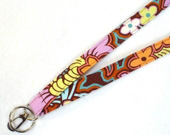 Fabric Lanyard ID Badge Holder Breakaway Lanyard ID Clip Key Ring Fob Amy Butler Disco Flower Chocolate Soul Blossom MTO