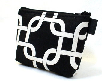 Clearance SALE Black White Fabric Gadget Pouch Nautical Square Knot Cosmetic Bag Zipper Pouch Makeup Bag Cotton Zip Pouch Bridesmaid Gift