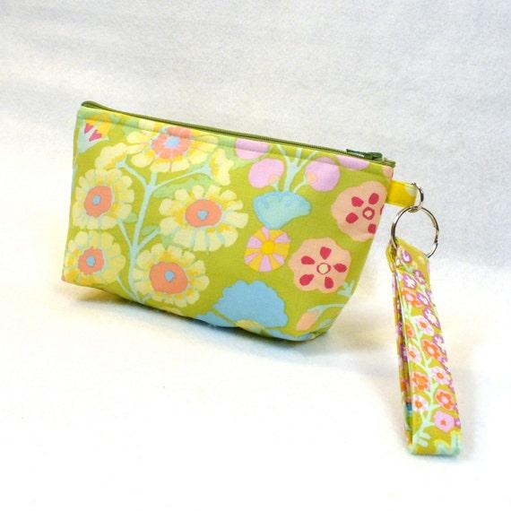 SALE! Wristlet Clutch Purse Kaffe Fassett Fabric Zipper Pouch Cosmetic Bag Makeup Bag Key Fob Floral Sprays Green Pink Yellow Pastel