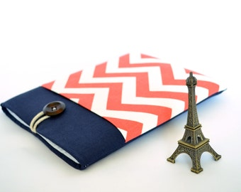 iPad Mini Case, Chevron Galaxy Tab 4 Case, Nexus 8 Sleeve, Amazon Fire HD, Kindle Paperwhite Cover Case - Coral Red and Navy Blue