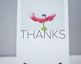 THANKS Note card - Thank you note card - Pink Daisy - Photography note card