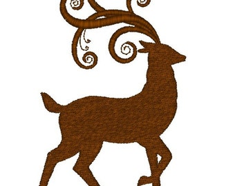 Machine Embroidery Design-Reindeer SINGLE #04 with 4x4 and 5x5 Hoop Sizes!