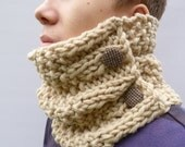 READY TO SHIP Men's Chunky Knit Cowl Scarf with Harris Tweed Buttons - Ecru