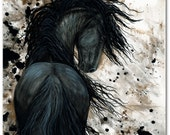 Friesian Horse Native American Feathers - Fine Art Prints by Bihrle mm123