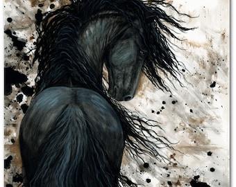 Friesian Horse Native American Feathers - Fine Art Prints by Bihrle mm123