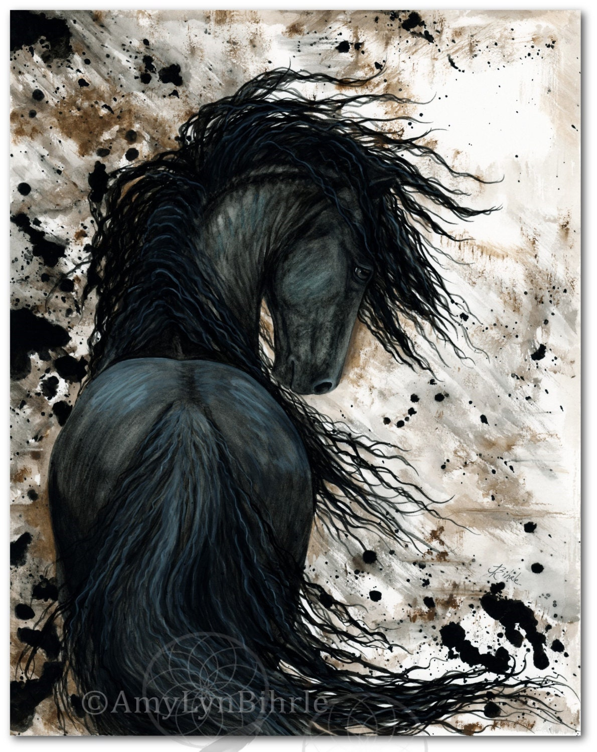 Friesian Horse Native American Feathers Fine Art Prints By