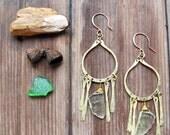 Green Cicada Earrings - Rustic Brass Metalwork and Organic Prehinite Stones - Artisan Tangleweeds Jewelry
