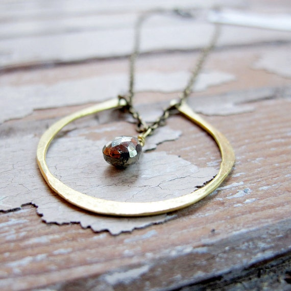 SALE - By Chance - Brass Horseshoe Necklace - Golden Pyrite Necklace - Artisan Tangleweeds Jewelry
