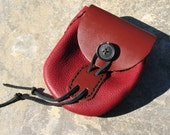 Hand Stitched Leather Belt Pouch with Vintage Button Closure