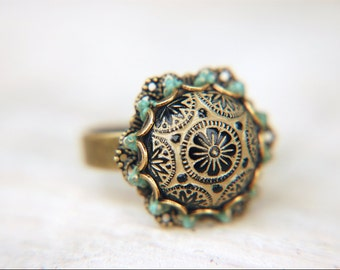 Ornate Etched Ring Vintage Black and Cocoa Brown Czech Floral Glass Cabochon Adjustable - The Chocolatier