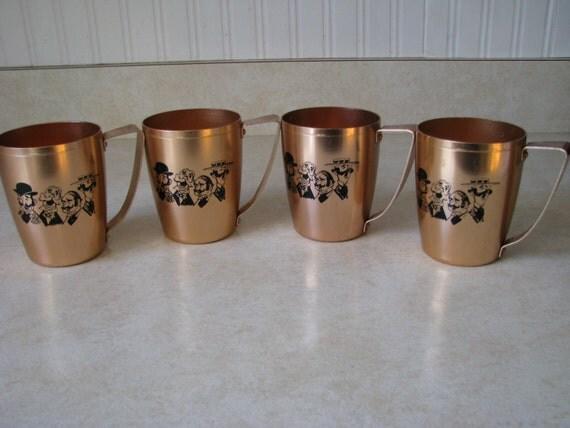4 Vintage Mirro Copper Moscow Mule Mugs Cups Barbershop