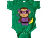 Superhero Onesie - Team Super Animals - Monkey Banana Green Infant Bodysuit - Baby Clothes Gift