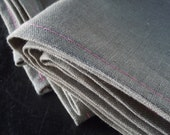 Valentine Linen Napkin Set, Grey and Pink Stitching, Set of 2, Kitchen Home Products.