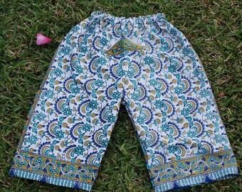 Hippie Kids pants -Blue Green Elephant - size 2 -Boys or Girls- Read measurements