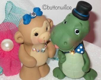 Dinosaur and Monkey Wedding Cake Topper Fun Animal Cake Topper