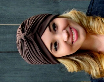 Brown Turban Hat Womens Turban Cloche Full Head Turban Stretch Turban Hat Pleated Design Womens Hat - CHOOSE Your Color