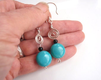 Turquoise , Black Onyx and Silver Earrings Wire Wrapped in Sterling Yin Yang