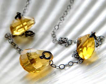 Oxidized sterling silver and AAA citrine nugget necklace - handmade jewelry