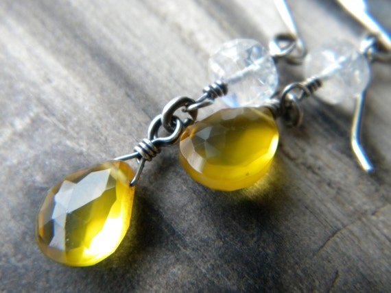 Bright sunshine yellow chalcedony and moonstone gemstone sterling silver dangle earrings - Spring fashion