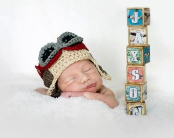 Room Decor Blocks Vintage Airplane Childrens Blocks Set of 8 Childrens Blocks By You're It Kids