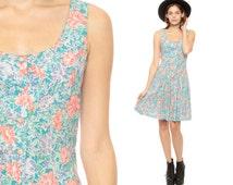 SALE 90s Mini Dress Floral Grunge Print Button Up DROP WAIST Boho Scoop Neck Full skirt Vintage Turquoise Blue Sleeveless Small