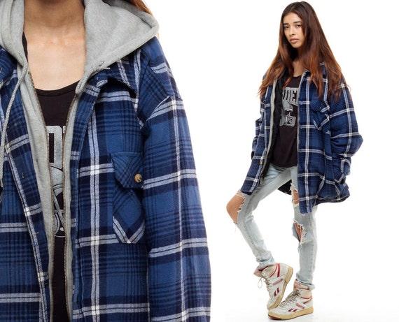 Hooded Flannel Shirt Plaid Jacket 90s Grunge Hood Oversized