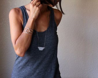 """Moroccan inspired geometric silver necklace, a modern spin on ancient patterns resulting in a very sleek design - """"Lantern Necklace"""""""