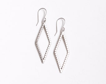 "Minimalist, modern and lightweight silver earrings in a geometric diamond shape with a lightly oxidized finish - ""Rune Earrings - Small"""