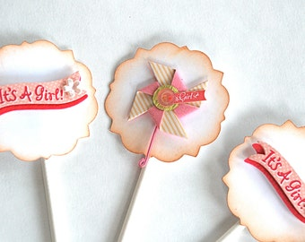 It's a Girl Banners and Pinwheels - Cupcake Toppers/Party Sticks