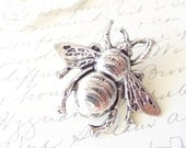 Silver Bumble Bee Hair Clip - Ox Silver Bumblebee Clip- Woodland Hair Pin - Wedding Hair - Wings - Nature