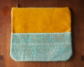 """READY TO SHIP - Leather Makeup Bag/Clutch """"The Stella"""" in Distressed Caramel & Aqua Burlap"""