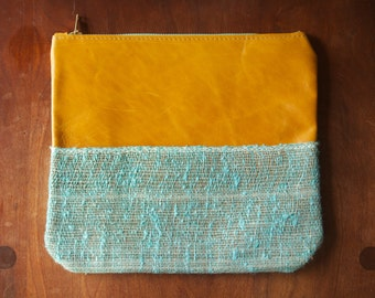 "On Sale  - Leather Makeup Bag/Clutch ""The Stella"" in Distressed Caramel & Aqua Burlap"
