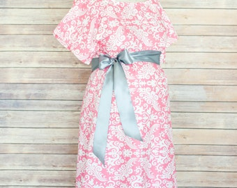 Pink Damask Maternity Hospital Delivery Gown -Super Soft -Perfect Snaps for Breastfeeding, Skin to Skin, and Epidural