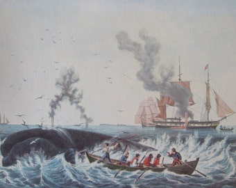 Currier & Ives Beautiful Vintage Color Print, The Whale Fishery, 12 x 10 in, Vintage Book Page Print