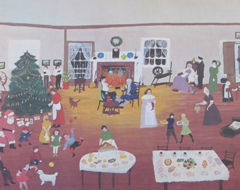 Grandma Moses, Christmas at Home, 1946 -  Color Print/Unframed Print/Vintage Book Page--10.5 x 8.25 in