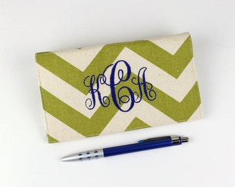 Personalized Chevron Fabric Checkbook Cover for Duplicate Checks with Pen Holder - Your Name or Monogram - Four Fabric Choices