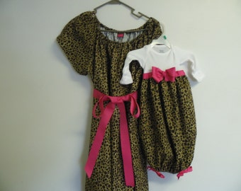 Boutique Cheata Print Maternity  Delivery Gown with Matching Infant Layette Gown Set