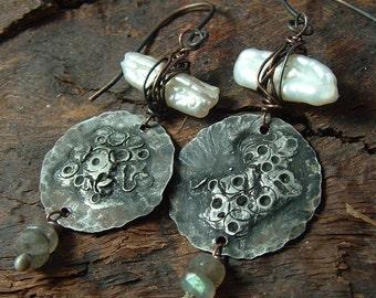 Rustic Winter Series, mixed metal, pearl and labradorite handmade dangle earrings by Vintajia Adornments